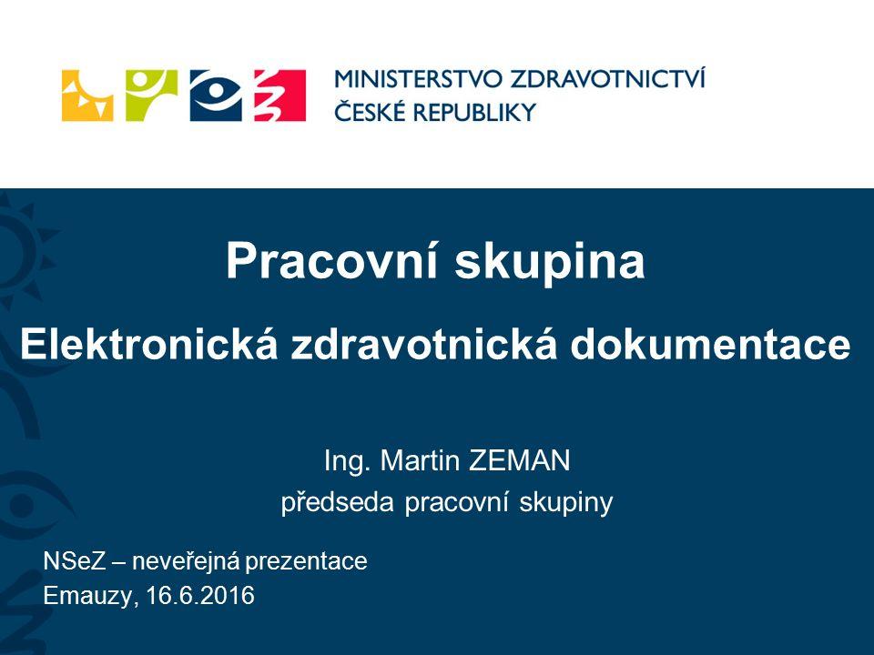 Pracovní skupina Elektronická zdravotnická dokumentace Ing.