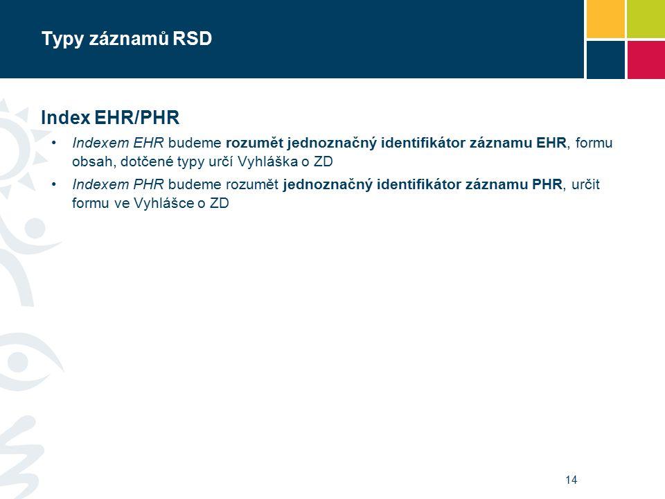 Typy záznamů RSD Index EHR/PHR Indexem EHR budeme rozumět jednoznačný identifikátor záznamu EHR, formu obsah, dotčené typy určí Vyhláška o ZD Indexem PHR budeme rozumět jednoznačný identifikátor záznamu PHR, určit formu ve Vyhlášce o ZD 14