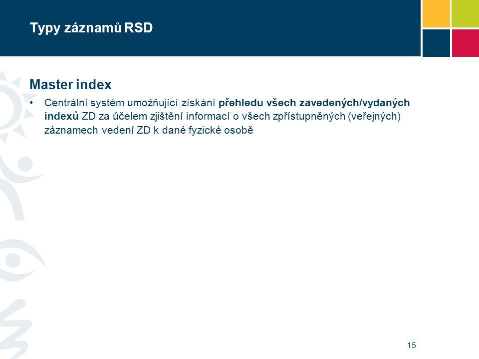 Typy záznamů RSD Master index Centrální systém umožňující získání přehledu všech zavedených/vydaných indexů ZD za účelem zjištění informací o všech zpřístupněných (veřejných) záznamech vedení ZD k dané fyzické osobě 15