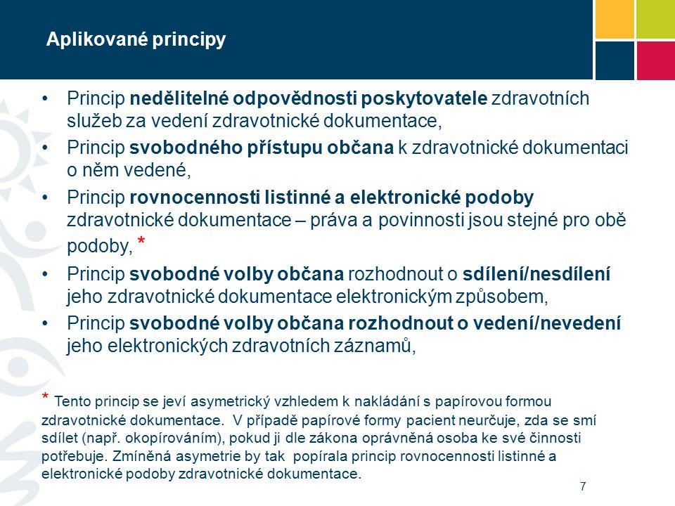 Aplikované principy 7 Princip nedělitelné odpovědnosti poskytovatele zdravotních služeb za vedení zdravotnické dokumentace, Princip svobodného přístupu občana k zdravotnické dokumentaci o něm vedené, Princip rovnocennosti listinné a elektronické podoby zdravotnické dokumentace – práva a povinnosti jsou stejné pro obě podoby, * Princip svobodné volby občana rozhodnout o sdílení/nesdílení jeho zdravotnické dokumentace elektronickým způsobem, Princip svobodné volby občana rozhodnout o vedení/nevedení jeho elektronických zdravotních záznamů, * Tento princip se jeví asymetrický vzhledem k nakládání s papírovou formou zdravotnické dokumentace.