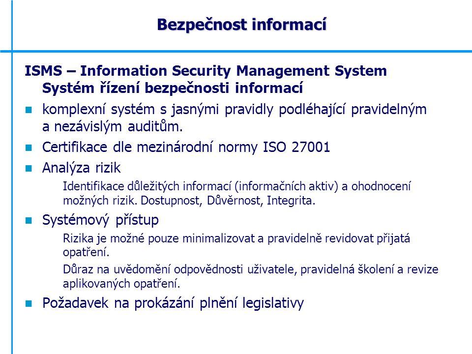 ISMS – Information Security Management System Systém řízení bezpečnosti informací komplexní systém s jasnými pravidly podléhající pravidelným a nezávislým auditům.
