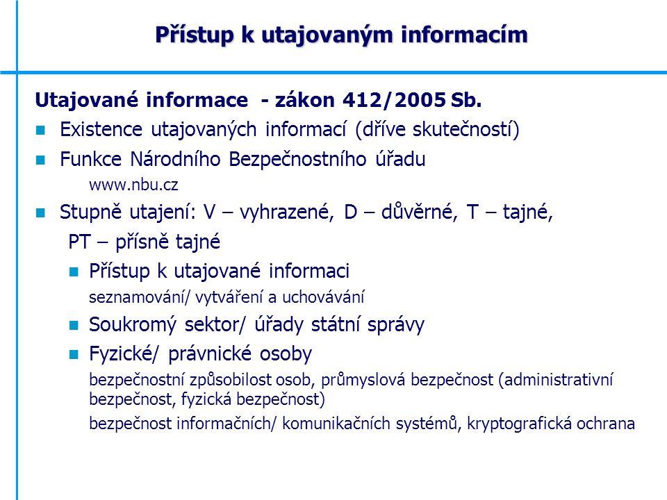 Utajované informace - zákon 412/2005 Sb.