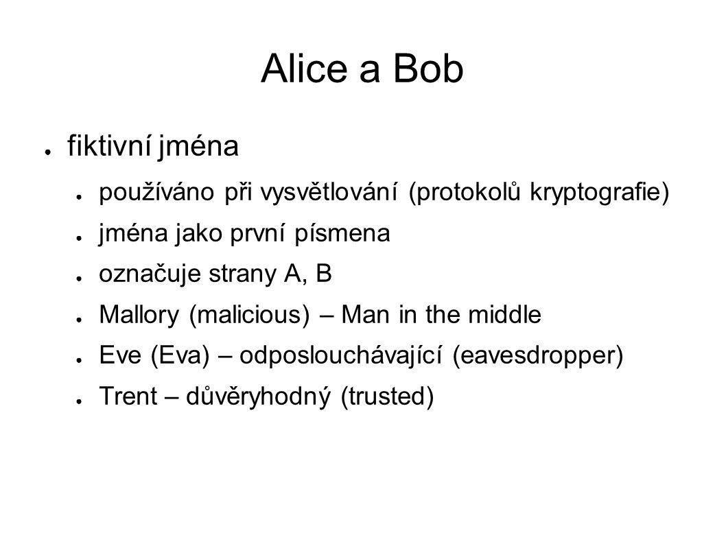 Alice a Bob ● fiktivní jména ● používáno při vysvětlování (protokolů kryptografie) ● jména jako první písmena ● označuje strany A, B ● Mallory (malici