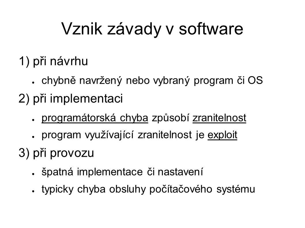 Vznik závady v software 1) při návrhu ● chybně navržený nebo vybraný program či OS 2) při implementaci ● programátorská chyba způsobí zranitelnost ● p