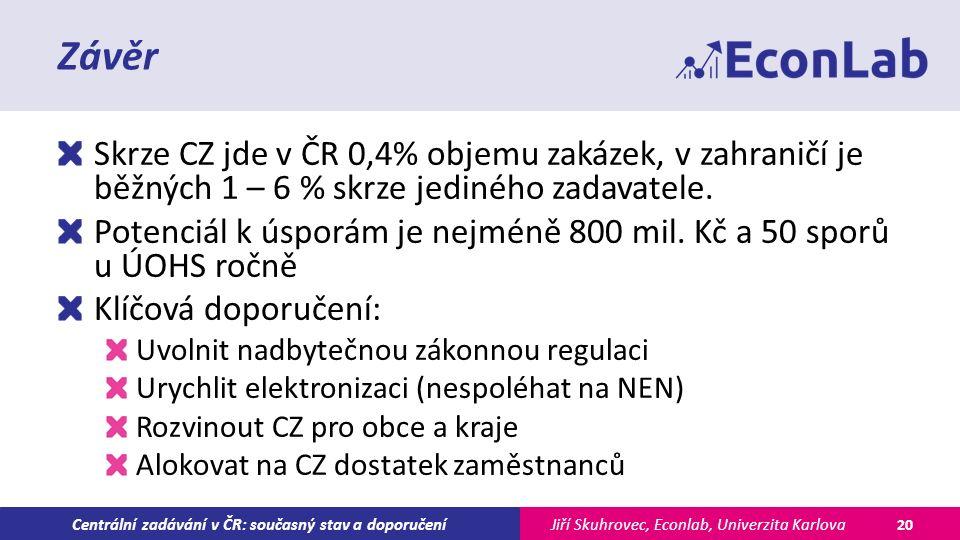 Jiří Skuhrovec, Econlab, Univerzita KarlovaCentrální zadávání v ČR: současný stav a doporučení Závěr Skrze CZ jde v ČR 0,4% objemu zakázek, v zahraničí je běžných 1 – 6 % skrze jediného zadavatele.