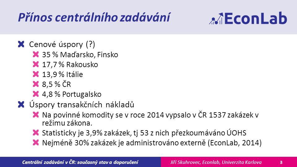 Jiří Skuhrovec, Econlab, Univerzita KarlovaCentrální zadávání v ČR: současný stav a doporučení Přínos centrálního zadávání Cenové úspory ( ) 35 % Maďarsko, Finsko 17,7 % Rakousko 13,9 % Itálie 8,5 % ČR 4,8 % Portugalsko Úspory transakčních nákladů Na povinné komodity se v roce 2014 vypsalo v ČR 1537 zakázek v režimu zákona.