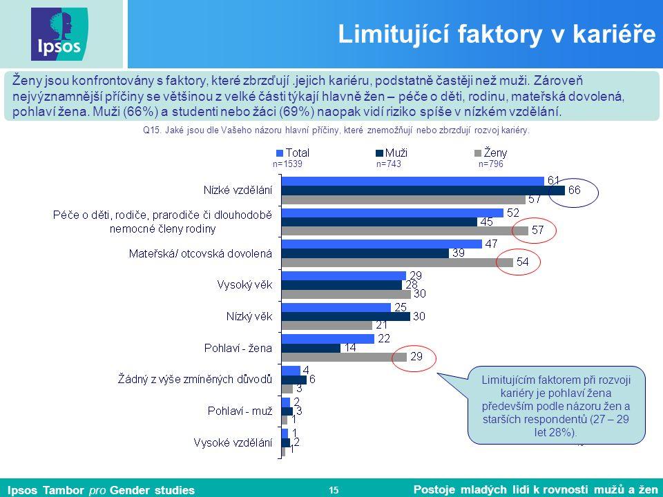 Ipsos Tambor pro Gender studies Postoje mladých lidí k rovnosti mužů a žen 15 Limitující faktory v kariéře Ženy jsou konfrontovány s faktory, které zbrzďují.jejich kariéru, podstatně častěji než muži.