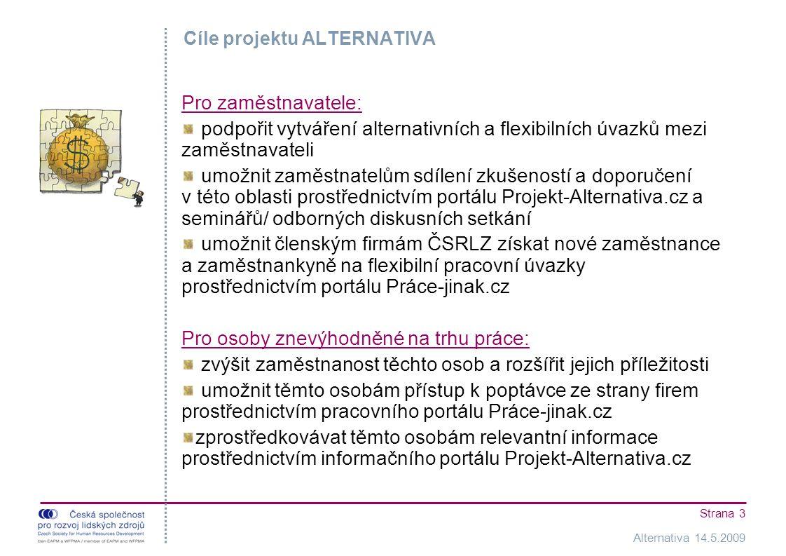Alternativa 14.5.2009 Strana 3 Cíle projektu ALTERNATIVA Pro zaměstnavatele: podpořit vytváření alternativních a flexibilních úvazků mezi zaměstnavateli umožnit zaměstnatelům sdílení zkušeností a doporučení v této oblasti prostřednictvím portálu Projekt-Alternativa.cz a seminářů/ odborných diskusních setkání umožnit členským firmám ČSRLZ získat nové zaměstnance a zaměstnankyně na flexibilní pracovní úvazky prostřednictvím portálu Práce-jinak.cz Pro osoby znevýhodněné na trhu práce: zvýšit zaměstnanost těchto osob a rozšířit jejich příležitosti umožnit těmto osobám přístup k poptávce ze strany firem prostřednictvím pracovního portálu Práce-jinak.cz zprostředkovávat těmto osobám relevantní informace prostřednictvím informačního portálu Projekt-Alternativa.cz