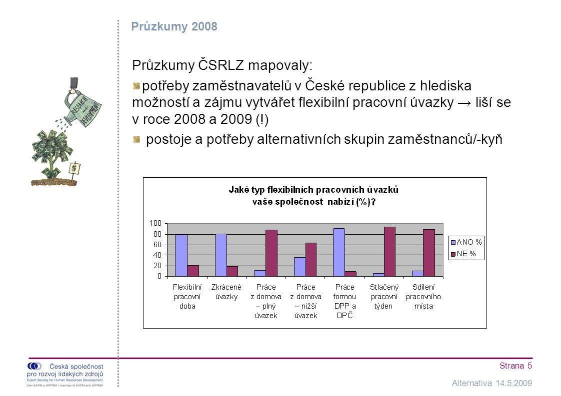 Alternativa 14.5.2009 Strana 5 Průzkumy 2008 Průzkumy ČSRLZ mapovaly: potřeby zaměstnavatelů v České republice z hlediska možností a zájmu vytvářet flexibilní pracovní úvazky → liší se v roce 2008 a 2009 (!) postoje a potřeby alternativních skupin zaměstnanců/-kyň
