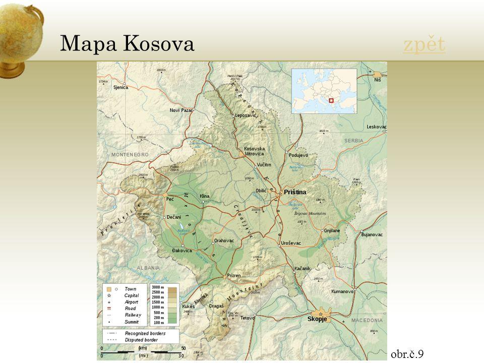 Mapa Kosova zpětzpět obr.č.9