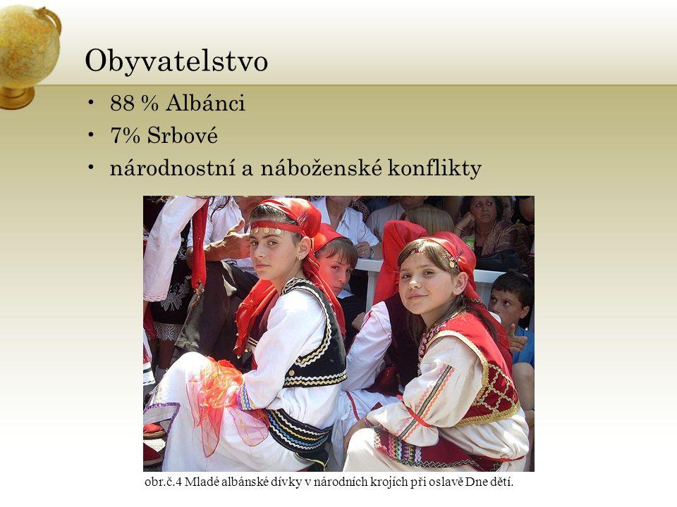 Obyvatelstvo 88 % Albánci 7% Srbové národnostní a náboženské konflikty obr.č.4 Mladé albánské dívky v národních krojích při oslavě Dne dětí.