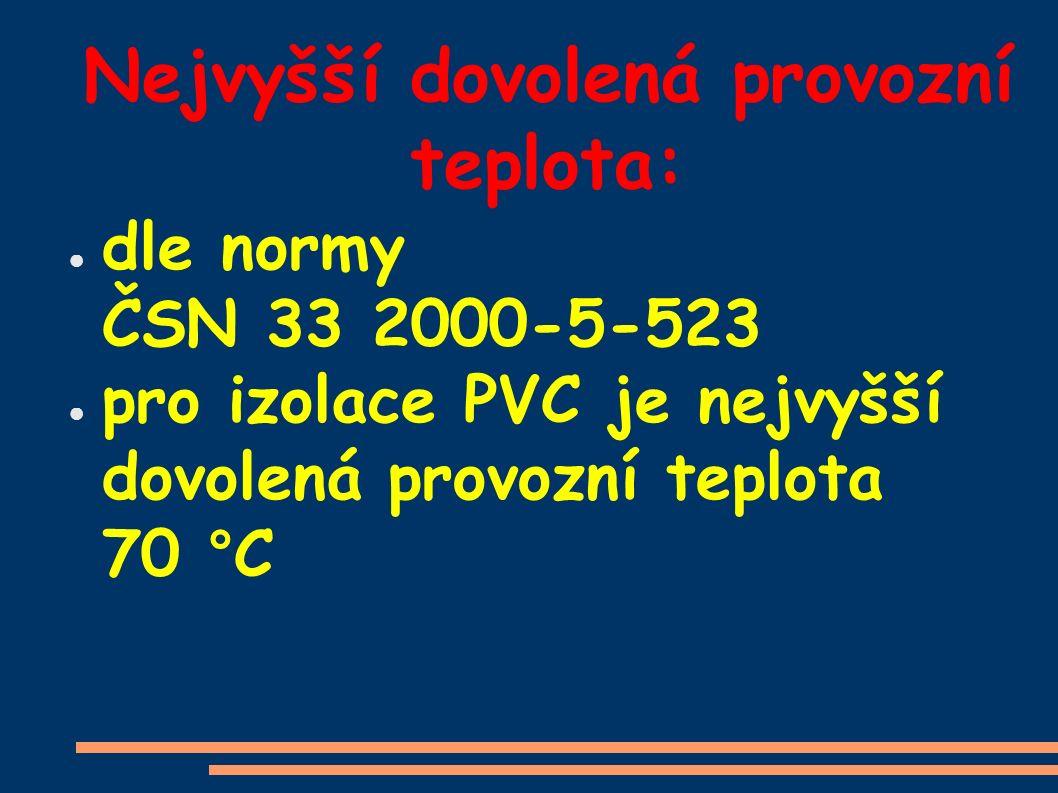 Nejvyšší dovolená provozní teplota: ● dle normy ČSN 33 2000-5-523 ● pro izolace PVC je nejvyšší dovolená provozní teplota 70 °C