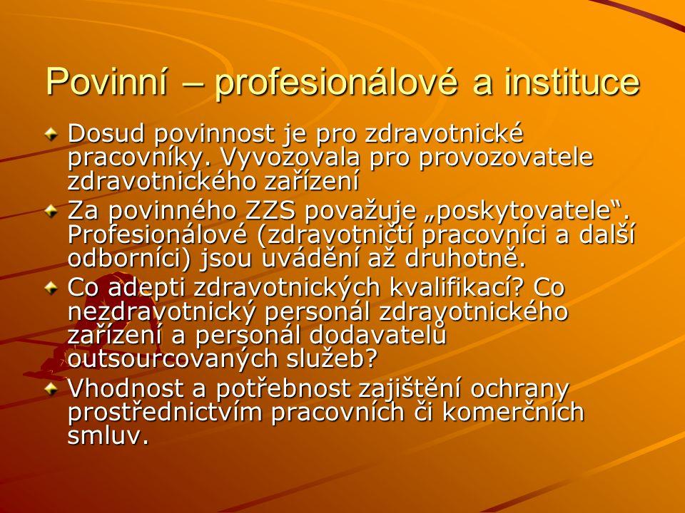 Povinní – profesionálové a instituce Dosud povinnost je pro zdravotnické pracovníky. Vyvozovala pro provozovatele zdravotnického zařízení Za povinného