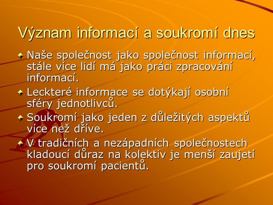 Význam informací a soukromí dnes Naše společnost jako společnost informací, stále více lidí má jako práci zpracování informací. Leckteré informace se