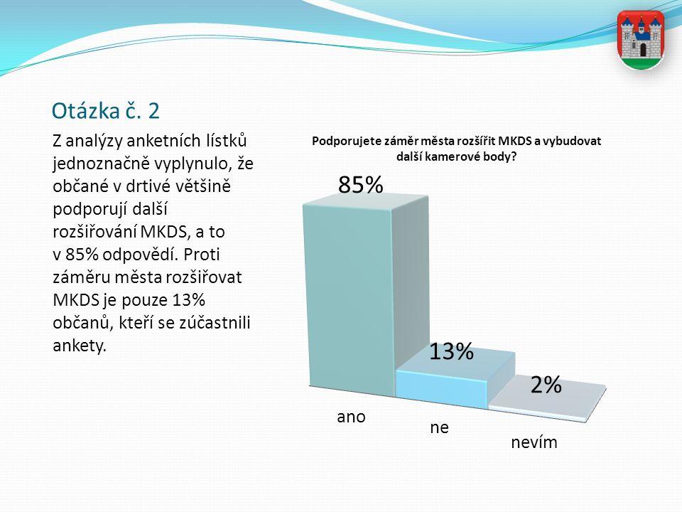 Otázka č. 2 Z analýzy anketních lístků jednoznačně vyplynulo, že občané v drtivé většině podporují další rozšiřování MKDS, a to v 85% odpovědí. Proti