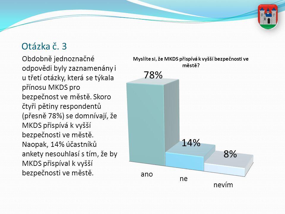 Otázka č. 3 Obdobně jednoznačné odpovědi byly zaznamenány i u třetí otázky, která se týkala přínosu MKDS pro bezpečnost ve městě. Skoro čtyři pětiny r
