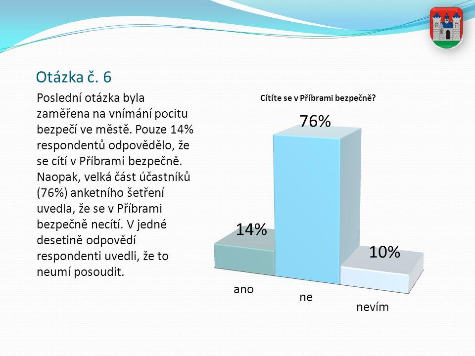 Otázka č. 6 Poslední otázka byla zaměřena na vnímání pocitu bezpečí ve městě. Pouze 14% respondentů odpovědělo, že se cítí v Příbrami bezpečně. Naopak