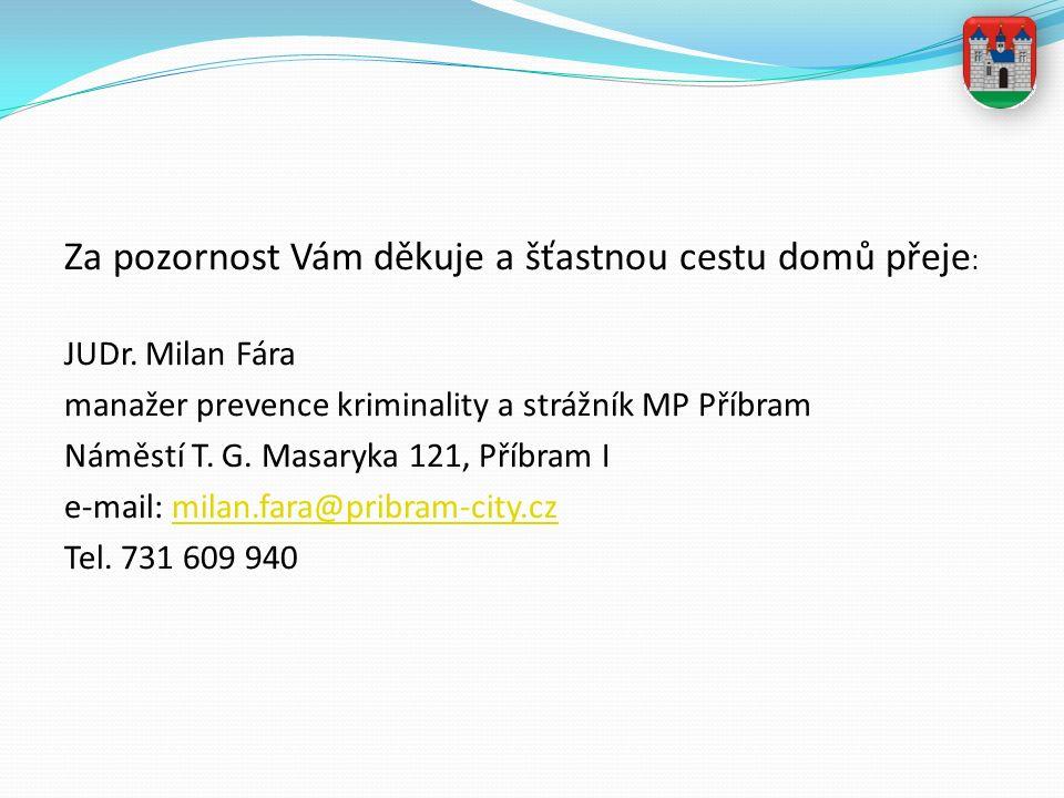 Za pozornost Vám děkuje a šťastnou cestu domů přeje : JUDr. Milan Fára manažer prevence kriminality a strážník MP Příbram Náměstí T. G. Masaryka 121,