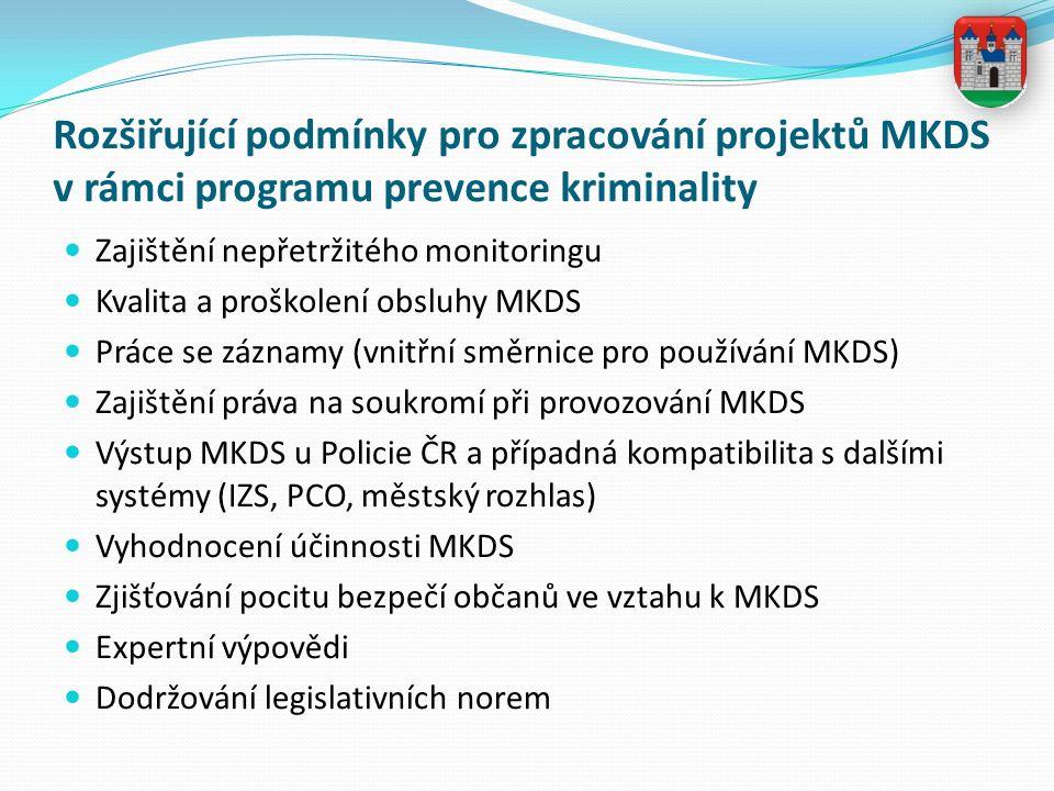 Rozšiřující podmínky pro zpracování projektů MKDS v rámci programu prevence kriminality Zajištění nepřetržitého monitoringu Kvalita a proškolení obsluhy MKDS Práce se záznamy (vnitřní směrnice pro používání MKDS) Zajištění práva na soukromí při provozování MKDS Výstup MKDS u Policie ČR a případná kompatibilita s dalšími systémy (IZS, PCO, městský rozhlas) Vyhodnocení účinnosti MKDS Zjišťování pocitu bezpečí občanů ve vztahu k MKDS Expertní výpovědi Dodržování legislativních norem