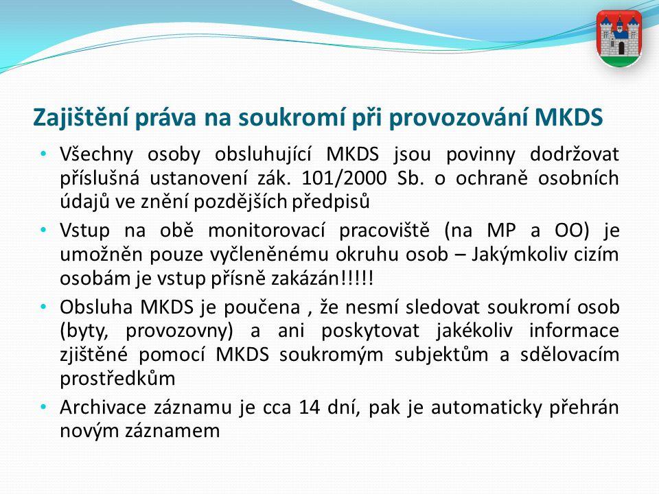 Zajištění práva na soukromí při provozování MKDS Všechny osoby obsluhující MKDS jsou povinny dodržovat příslušná ustanovení zák. 101/2000 Sb. o ochran