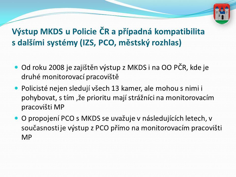 Výstup MKDS u Policie ČR a případná kompatibilita s dalšími systémy (IZS, PCO, městský rozhlas) Od roku 2008 je zajištěn výstup z MKDS i na OO PČR, kde je druhé monitorovací pracoviště Policisté nejen sledují všech 13 kamer, ale mohou s nimi i pohybovat, s tím,že prioritu mají strážníci na monitorovacím pracovišti MP O propojení PCO s MKDS se uvažuje v následujících letech, v současnosti je výstup z PCO přímo na monitorovacím pracovišti MP