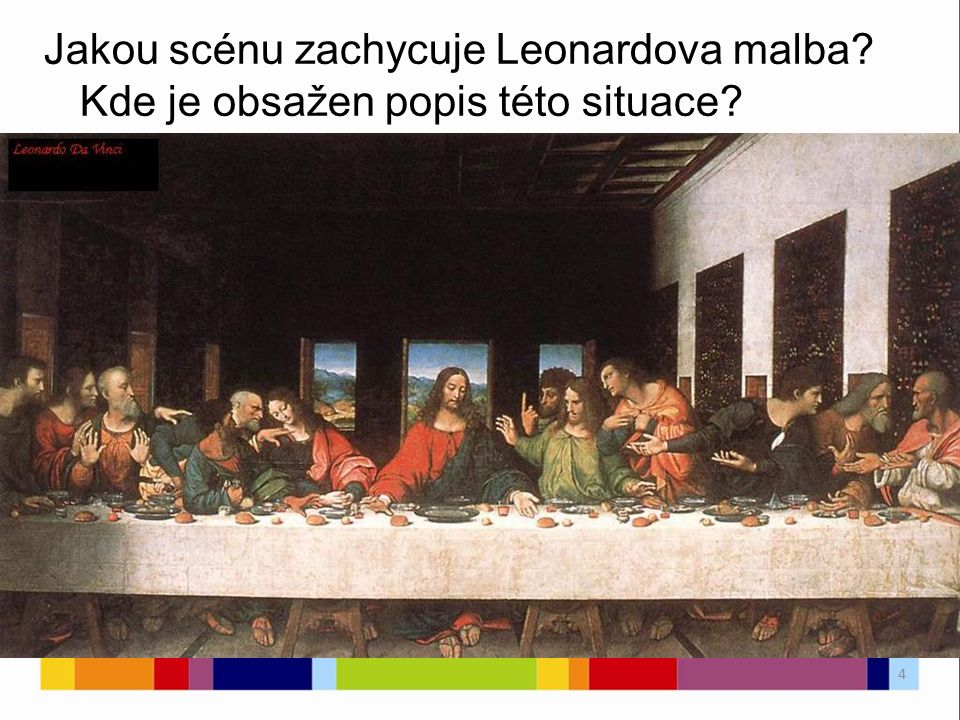 Jakou scénu zachycuje Leonardova malba? Kde je obsažen popis této situace? 4