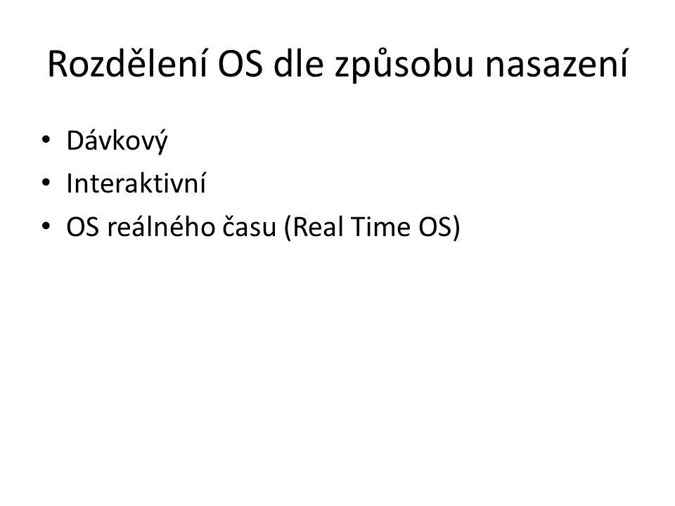 Rozdělení OS dle způsobu nasazení Dávkový Interaktivní OS reálného času (Real Time OS)