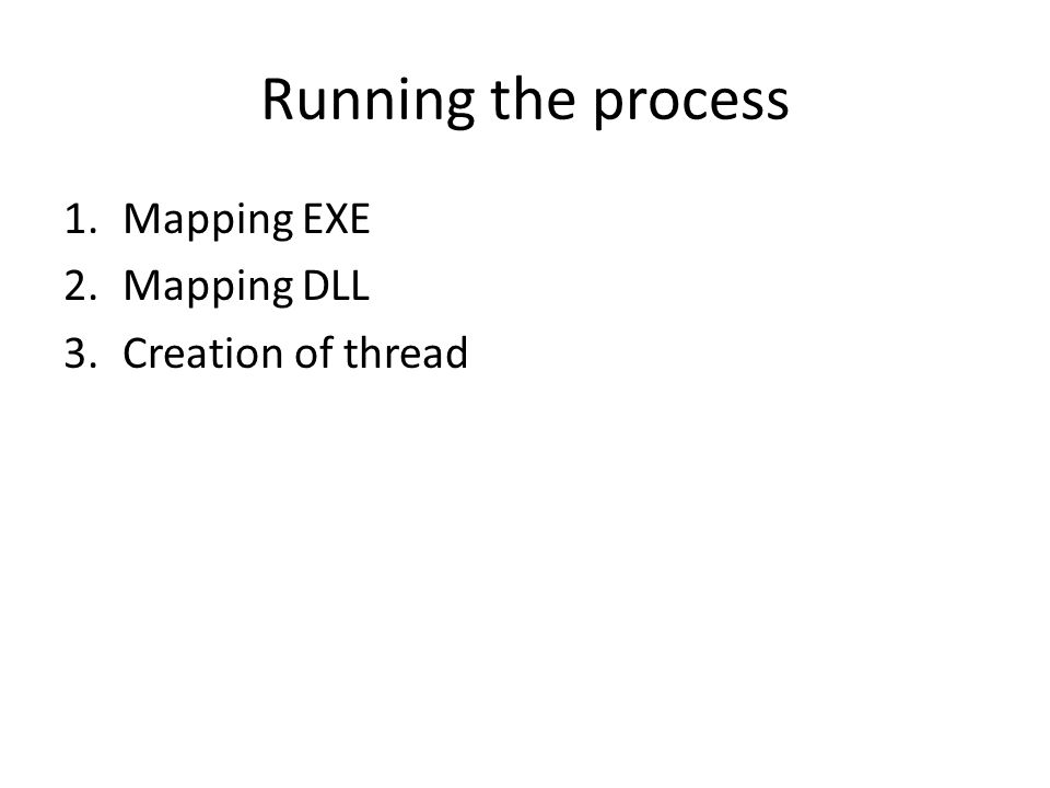 Running the process 1.Mapping EXE 2.Mapping DLL 3.Creation of thread