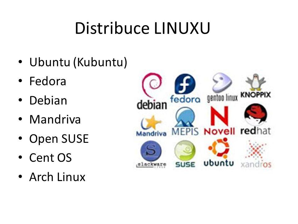 Distribuce LINUXU Ubuntu (Kubuntu) Fedora Debian Mandriva Open SUSE Cent OS Arch Linux