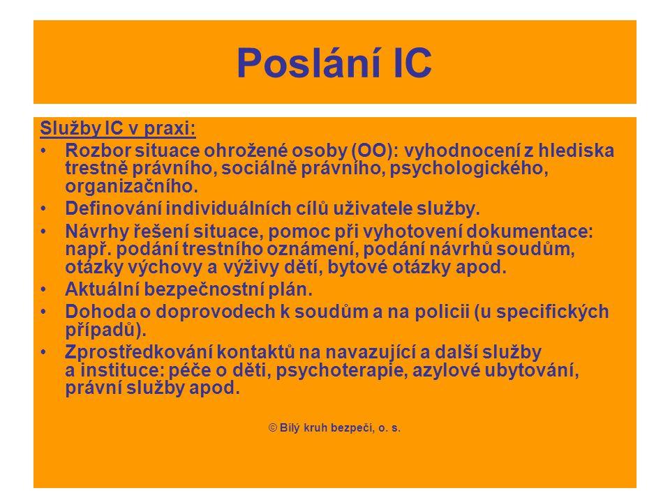 Poslání IC Služby IC v praxi: Rozbor situace ohrožené osoby (OO): vyhodnocení z hlediska trestně právního, sociálně právního, psychologického, organizačního.