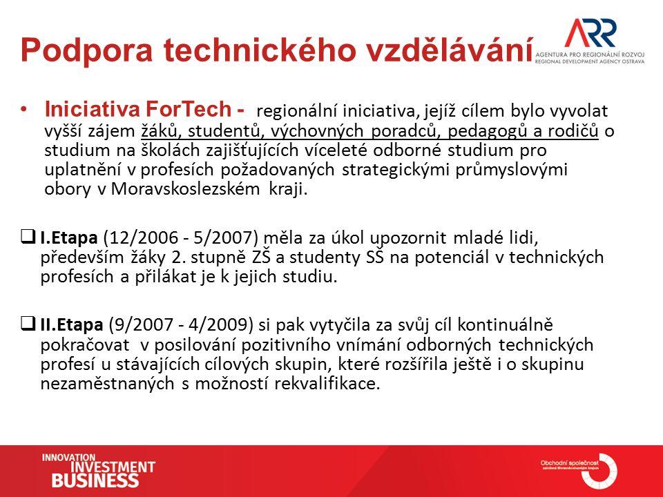 Podpora technického vzdělávání Iniciativa ForTech - regionální iniciativa, jejíž cílem bylo vyvolat vyšší zájem žáků, studentů, výchovných poradců, pedagogů a rodičů o studium na školách zajišťujících víceleté odborné studium pro uplatnění v profesích požadovaných strategickými průmyslovými obory v Moravskoslezském kraji.