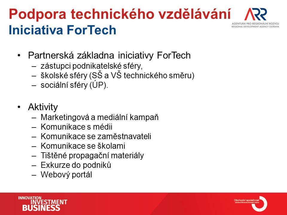 Podpora technického vzdělávání Iniciativa ForTech Partnerská základna iniciativy ForTech –zástupci podnikatelské sféry, –školské sféry (SŠ a VŠ technického směru) –sociální sféry (ÚP).