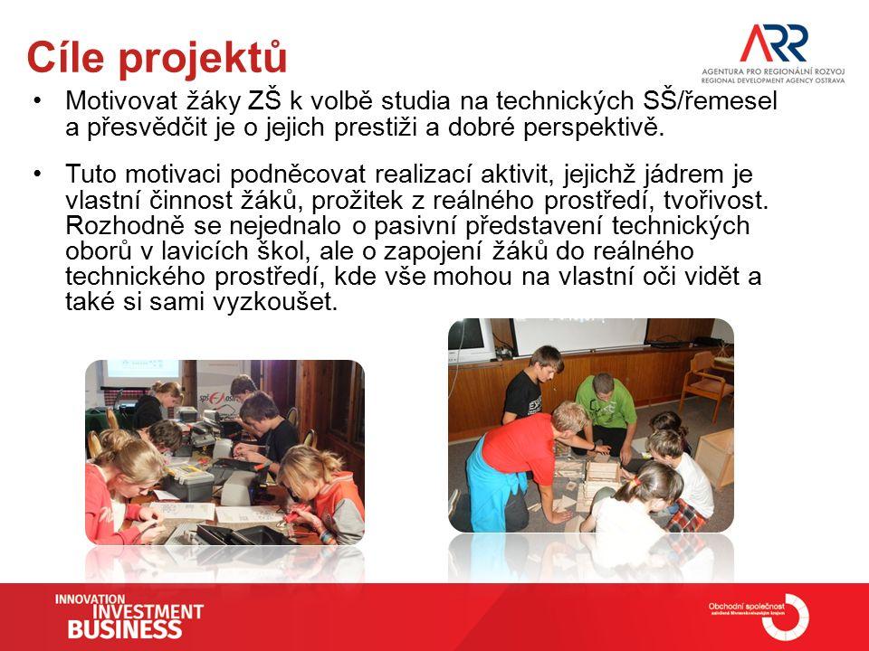 Cíle projektů Motivovat žáky ZŠ k volbě studia na technických SŠ/řemesel a přesvědčit je o jejich prestiži a dobré perspektivě.