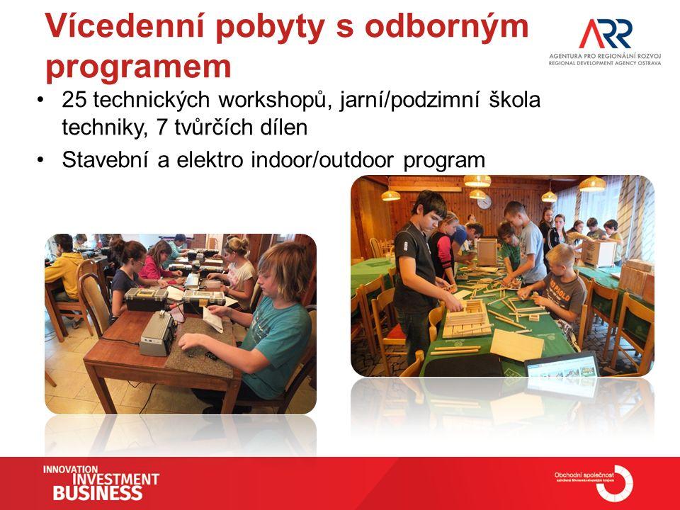 Vícedenní pobyty s odborným programem 25 technických workshopů, jarní/podzimní škola techniky, 7 tvůrčích dílen Stavební a elektro indoor/outdoor program