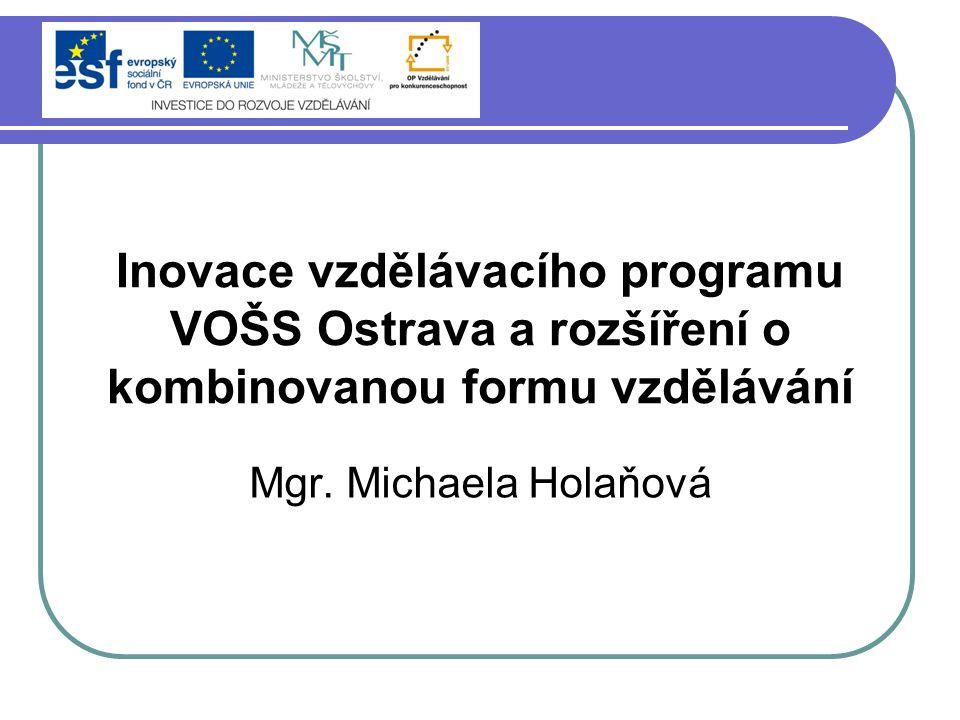 ESF – Operační program Vzdělávání pro konkurenceschopnost Název projektu: Inovace vzdělávacího programu VOŠS Ostrava a rozšíření o kombinovanou formu vzdělávání Registrační číslo: CZ.1.07/2.1.00/13.0023 Doba realizace: 21.