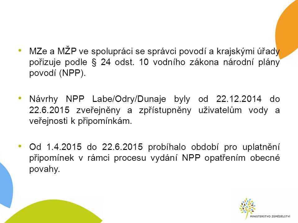 MZe a MŽP ve spolupráci se správci povodí a krajskými úřady pořizuje podle § 24 odst.