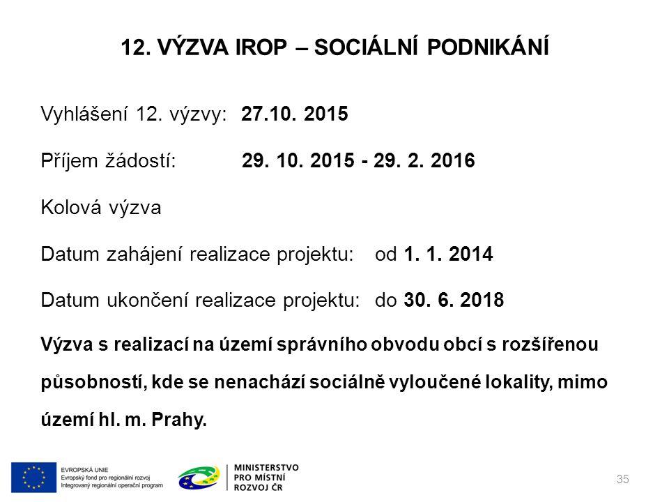 12. VÝZVA IROP – SOCIÁLNÍ PODNIKÁNÍ Vyhlášení 12.