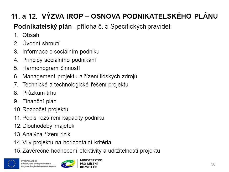 11. a 12. VÝZVA IROP – OSNOVA PODNIKATELSKÉHO PLÁNU Podnikatelský plán - příloha č.