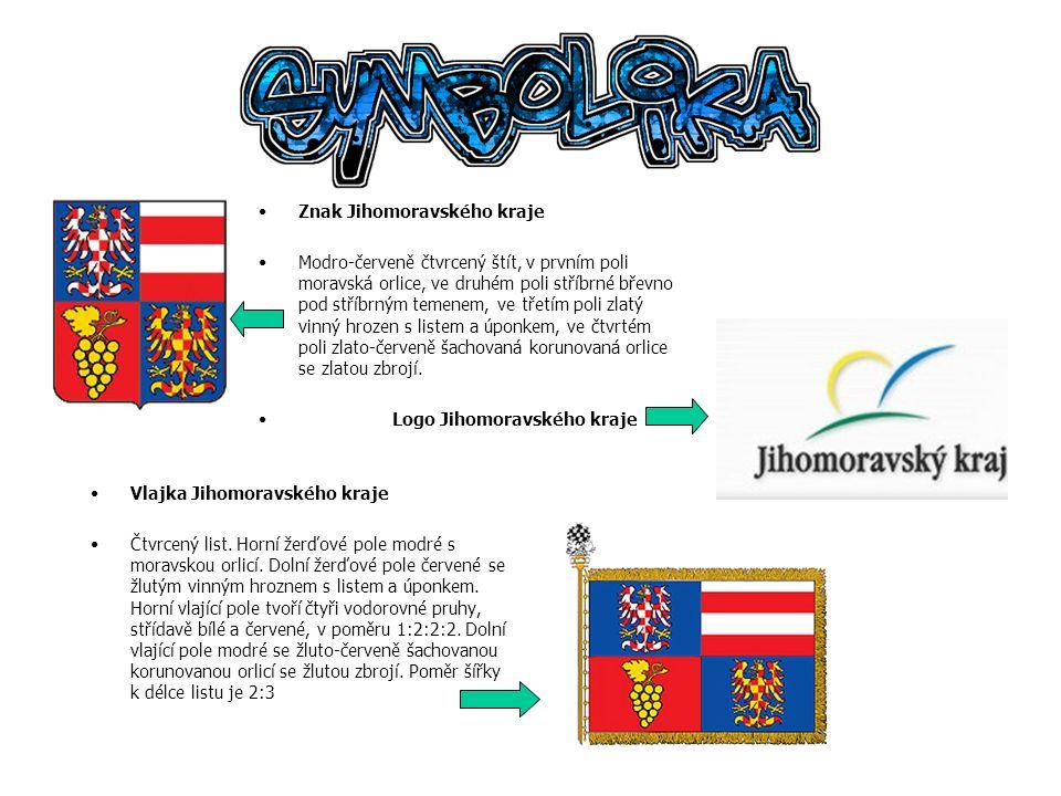 Vlajka Jihomoravského kraje Čtvrcený list. Horní žerďové pole modré s moravskou orlicí. Dolní žerďové pole červené se žlutým vinným hroznem s listem a