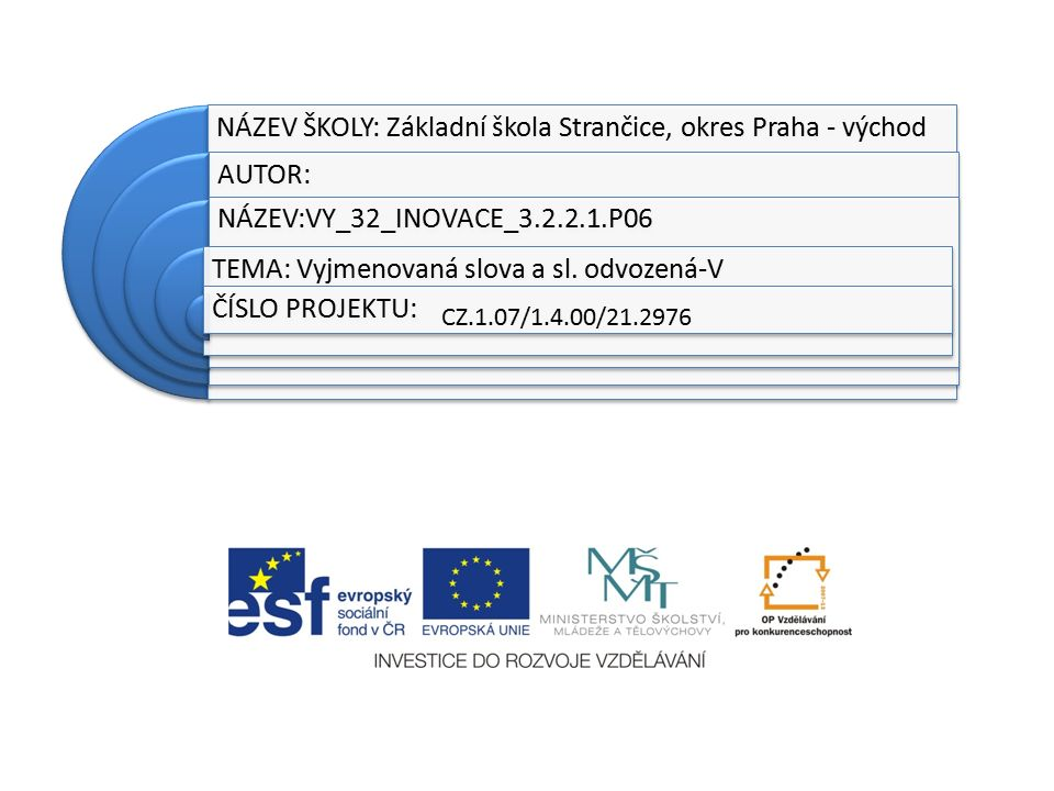 NÁZEV ŠKOLY: Základní škola Strančice, okres Praha - východ AUTOR: NÁZEV:VY_32_INOVACE_3.2.2.1.P06 TEMA: Vyjmenovaná slova a sl.