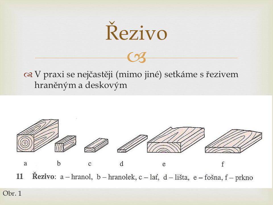   V praxi se nejčastěji (mimo jiné) setkáme s řezivem hraněným a deskovým Řezivo Obr. 1