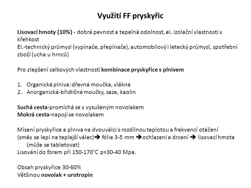 Využití FF pryskyřic Lisovací hmoty (10%) - dobrá pevnost a tepelná odolnost, el.