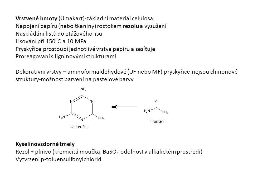 Vrstvené hmoty (Umakart)-základní materiál celulosa Napojení papíru (nebo tkaniny) roztokem rezolu a vysušení Naskládání listů do etážového lisu Lisování při 150°C a 10 MPa Pryskyřice prostoupí jednotlivé vrstva papíru a sesíťuje Proreagovaní s ligninovými strukturami Dekorativní vrstvy – aminoformaldehydové (UF nebo MF) pryskyřice-nejsou chinonové struktury-možnost barvení na pastelové barvy Kyselinovzdorné tmely Rezol + plnivo (křemičitá moučka, BaSO 4 -odolnost v alkalickém prostředí) Vytvrzení p-toluensulfonylchlorid