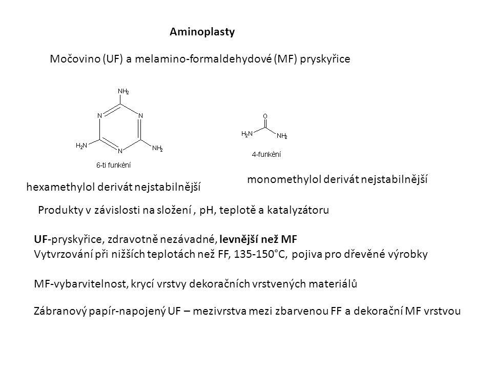 Aminoplasty Močovino (UF) a melamino-formaldehydové (MF) pryskyřice monomethylol derivát nejstabilnější hexamethylol derivát nejstabilnější UF-pryskyřice, zdravotně nezávadné, levnější než MF Vytvrzování při nižších teplotách než FF, 135-150°C, pojiva pro dřevěné výrobky MF-vybarvitelnost, krycí vrstvy dekoračních vrstvených materiálů Zábranový papír-napojený UF – mezivrstva mezi zbarvenou FF a dekorační MF vrstvou Produkty v závislosti na složení, pH, teplotě a katalyzátoru