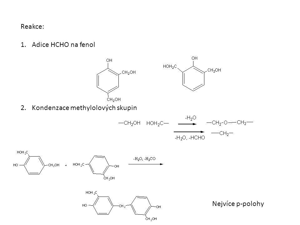 Reakce: 1.Adice HCHO na fenol 2.Kondenzace methylolových skupin Nejvíce p-polohy