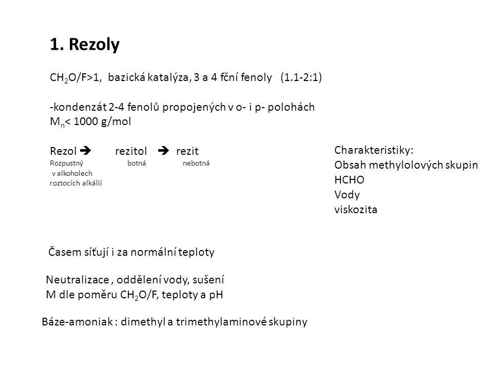1. Rezoly CH 2 O/F>1, bazická katalýza, 3 a 4 fční fenoly (1.1-2:1) -kondenzát 2-4 fenolů propojených v o- i p- polohách M n < 1000 g/mol Rezol  rezi