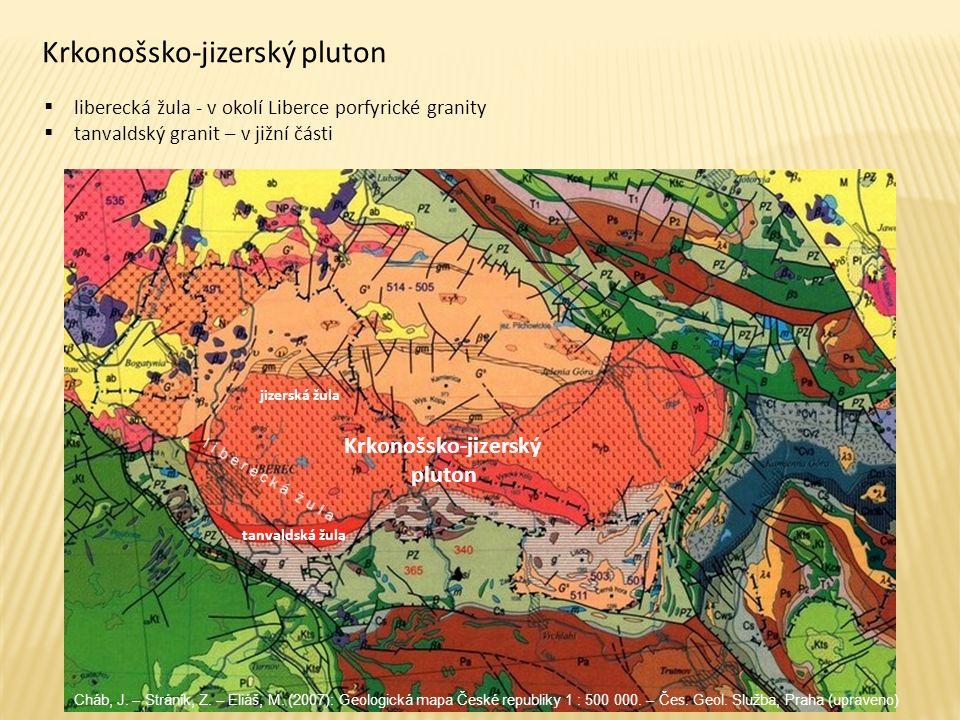 Krkonošsko-jizerský pluton  liberecká žula - v okolí Liberce porfyrické granity  tanvaldský granit – v jižní části tanvaldská žula jizerská žula Krk