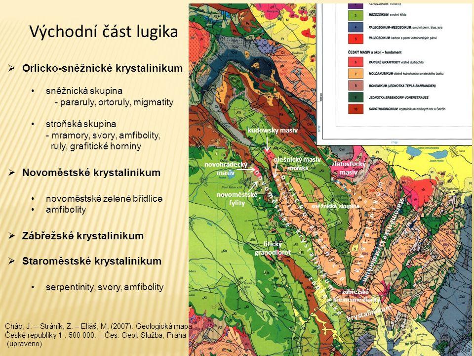 Východní část lugika  Orlicko-sněžnické krystalinikum sněžnická skupina - pararuly, ortoruly, migmatity stroňská skupina - mramory, svory, amfibolity