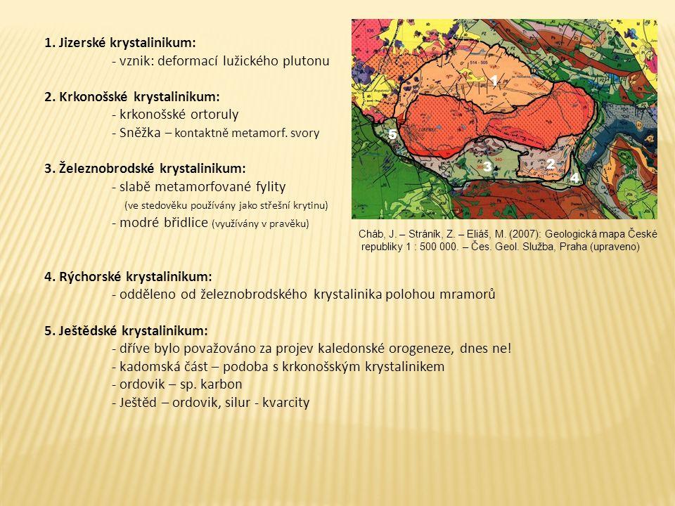 1. Jizerské krystalinikum: - vznik: deformací lužického plutonu 2. Krkonošské krystalinikum: - krkonošské ortoruly - Sněžka – kontaktně metamorf. svor