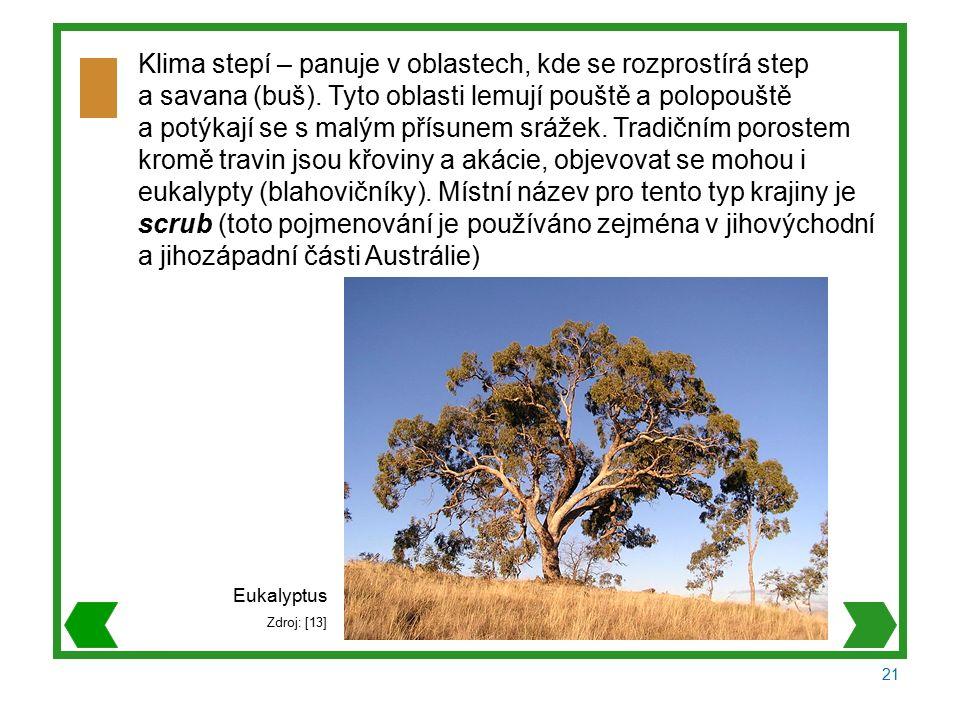 21 Klima stepí – panuje v oblastech, kde se rozprostírá step a savana (buš).